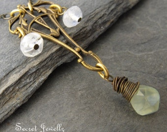 Prehnite, Moonstone, Art DEco Necklace, Bohemian, Gypsy, Pendant