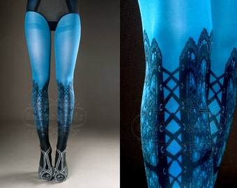 Tattoo Tights -  blue one size Lace Up print full length closed toe printed tights pantyhose, tattoo socks, printed nylons