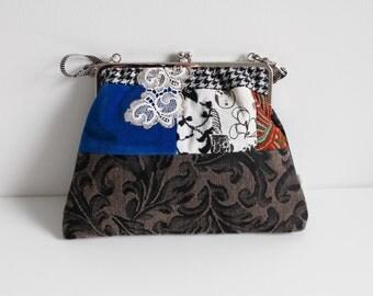 Mademoiselle Dentelle purse, Bouche cousue, blue,black, embroidery,gift, women, face, design, screenprint, unique, vintage style,
