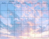 Glorious Pink and Blue Sunrise Dry Erase Monthly Calendar Fridge Magnet #2872
