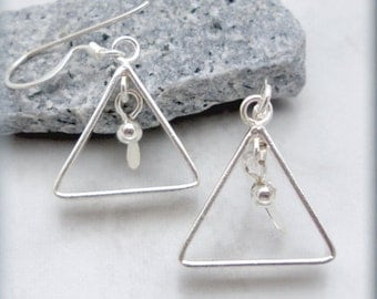 Triangle Earrings Geometric Jewelry Sterling Silver Simple Everyday Earring (SE978)