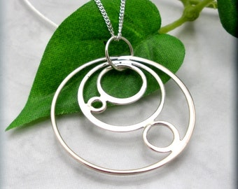 Circles Necklace Sterling Silver Pendant Everyday Geometric Jewelry (SN757)