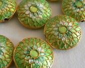 SALE 4 6x16mm Handmade Cloisonne Beads Gold Plated Brass Chrysanthemum Mint Green b2853