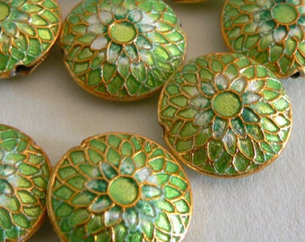 SALE 4 6x16mm Handmade Cloisonne Beads Gold Plated Brass Chrysanthemum Mint Green b2853