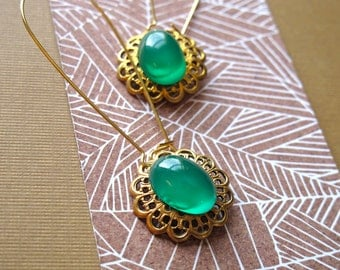 Green Glass Dangle Earrings Vintage Brass Filigree Charms set with Jade Green Glass Stones Vintage Gemstone Earrings