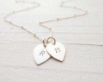 Lotus Flower Petal Necklace - Sterling Silver Personalized Pendants