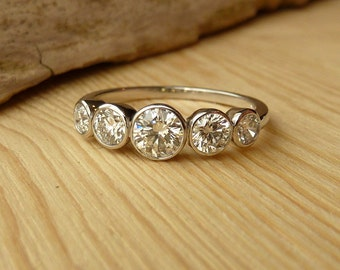 5 Stone Bezel Set Diamond Band