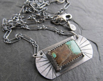 Short silver Necklace Turquoise and silver Necklace Southwest Style Western Necklace Silver Turquoise necklace rustic silver jewelry