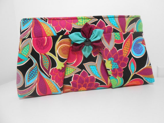 Pleated Clutch Tropical Floral