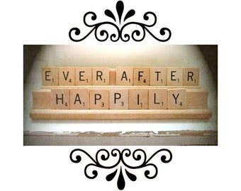 Wedding Favor Scrabble Saying Quote Happily Ever After Shabby Rustic Chic