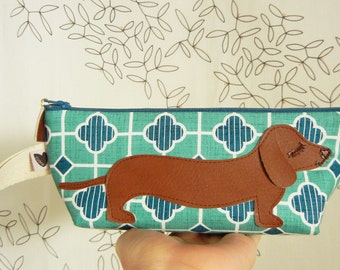BBQ the Dachshund Scandinavian Clouds Striped Teal Blue  Print Cotton Canvas Carry All Case Vinyl Applique