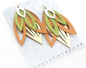 Peach, Lime and Gold Leather Earrings