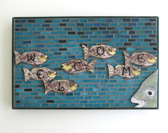 Glass Mosaic Wall Art Welcome Sign, Tropical Fish Wall Decor, Turquoise Fish Lover Gift Artisan Torch-Enameled