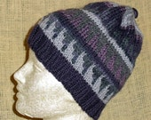 Geometric Purple and Gray Knit Hat with Triangle Pattern and Stripes for Winter