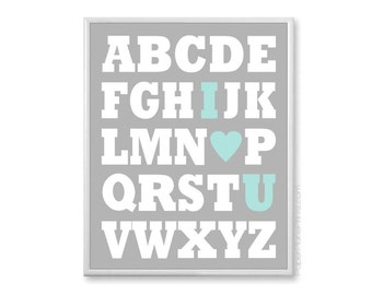 Boys Nursery Decor,Abc Wall Art, Baby Alphabet Artwork, Nursery Print, Aqua and Grey 8x10 or 11x14 - Chunky Block Letters Alphabet Art Print