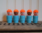 Five Vintage Fisher Price People, Workers, Construction, Blue, Orange,