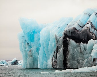 Iceberg Photo, Iceland Winter Landscape Photography, Nature Wall Art Print, Large Art, Black Blue Wall Decor - The Colors of Cold