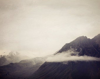 "Mountain Photography, Clouds, Mountain, Iceland Landscape, Nature, Fine Art Photography Print, Mountain Art ""Somewhere in Between"""