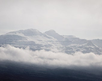 Mountain, Nordic Landscape Photography, Iceland, Blue, White, Winter Snow, Arctic Nature, Grey, Silver, 8x8 - Head in the Clouds