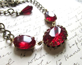 Ruby necklace, J. Crew necklace, red statement necklace, Edwardian necklace, georgian jewelry, Downton Abbey necklace, ruby necklace,