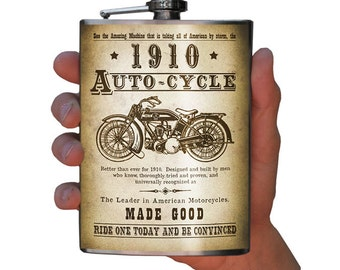 Autocycle - vintage motorcycle flask - stainless steel 8oz.