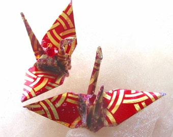 Eternal Knot Christmas Ornament Peace Crane Origami Wedding Cake Topper Party Favor Paper Place Card Holder Table Decoration Gold  Red Bird