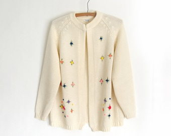 SALE Vintage granny Cardigan Sweater / Embroidered Floral / fully fashioned Cream Knit Cardi / Brights yellow green pink blue purple peach