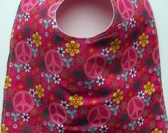 Baby Bib:  Pink Peace Signs and Flowers
