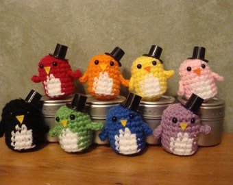 Amigurumi Tiny Top Hat Gumdrop Penguin Plush  - Your choice of color
