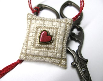 Always In My Heart Scissor Fob Ornament Pin Cushion Completed Beaded Cross Stitch Needlework