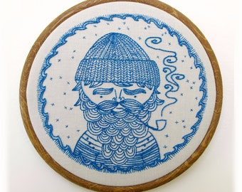 SEA CAPTAIN pdf embroidery pattern, sailor design, embroidery design, nautical theme, salty sailor man, beard man with pipe, by cozyblue