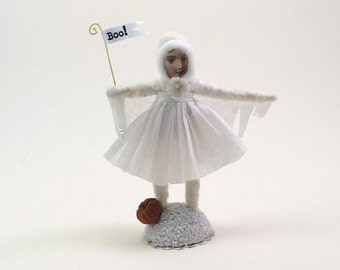 Spun Cotton Vintage Style Halloween Ghost Girl Figure