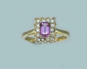 Vintage Purple and Clear Rhinestone Ring Unused