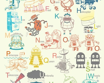 13 x 19 inch Robot Alphabet Art Print - robot nursery decor, robot art print, alphabet wall art, gender neutral art, art for kids room