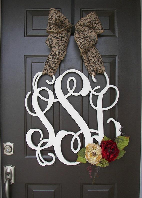 Custom Monogram Door Wreath Burlap Bow Red Cream By