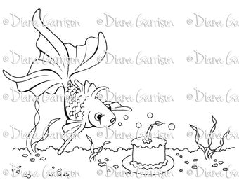 Birthday Fish Digi Digital Stamp