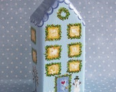 Hand Painted Love Boxes Christmas Village Town House Blue
