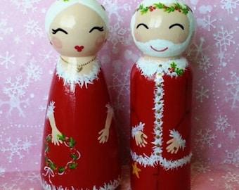 Hand Painted Love Boxes Santa &  Mrs Santa Claus Christmas Peg Doll Wood