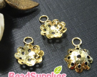 FG-FG-02036- Nnickel free gold plated, Floral dangling bead cap, 12 pcs