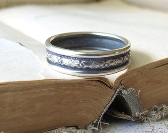 Mens Wedding Band Mens Oxidized Band Diamond Pattern Wedding Ring Renaissance Wedding Band Sterling Silver Wide Mens Ring