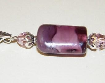 Lampwork Shades of Purple Pillow Pendant Slide  Artist Glass Swarovski Crystal Sterling Silver