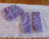 Baby Girl Knit Hat With  Legwarmers Bright Purple and Pink