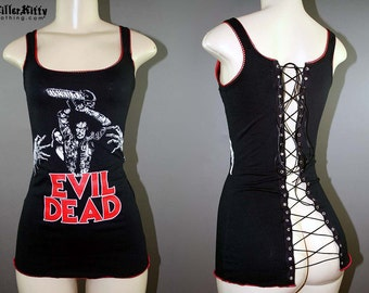Evil Dead Corset Tank Top 80s Horror Movie Ash vs The Evil Dead Army of Darkness Halloween
