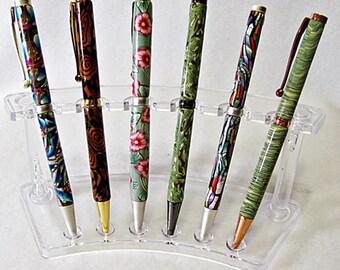Blue Kalidescope Refillable Retractable Pen