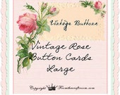 Pretty pink roses button cards digital download