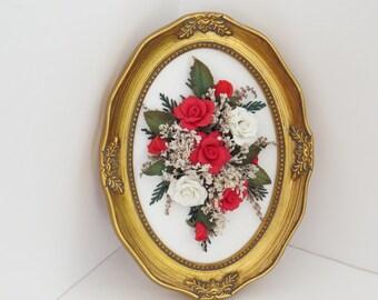 Framed Red and White Cold Porcelain Roses