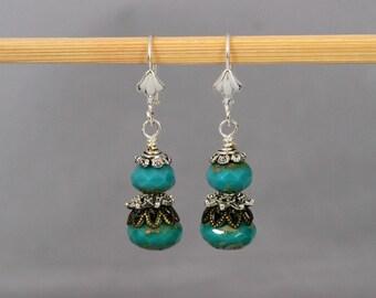 Mixed Metal Turquoise Dangle Earrings