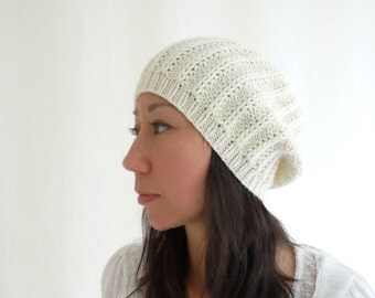 PDF Knitting PATTERN/Printable Knitting INSTRUCTIONS only (not knitted item): Gigi Knit Slouch Hat / Beanie. Instant Download