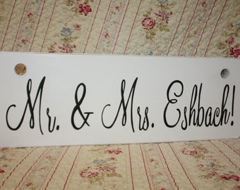 Two Sided SIGN Groom here comes your bride AND Mr and Mrs Wedding Ring Bearer photo prop Personalized