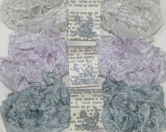 Shabby Crinkle Ribbon , Seam Binding , 18 YARDS , COOL NEUTRALS , Orchid , Grey , Light Beige